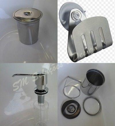 Kit Lixeira 6l Embutir + Dosador E Porta Esponja Em Inox 304