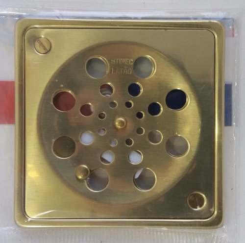 Ralo Grelha 10cm Quadrado C/ Caixilho E Fechamento Latão Dr CCCF100QUDR