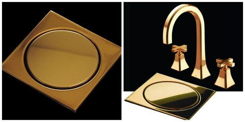 Ralo Inox Elegance Ouro Polido 12,5cm x 12,5cm p/ Cx De 100mm