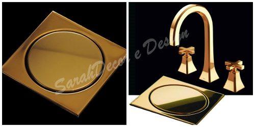 Ralo Inox Elegance Bronze 17,5cm x 17,5cm p/ Cx De 150mm