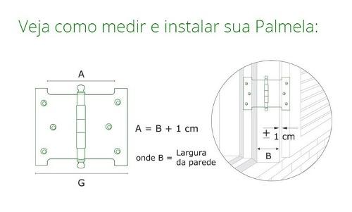 Dobradiça Palmela Latão Preto Fosco  6x8