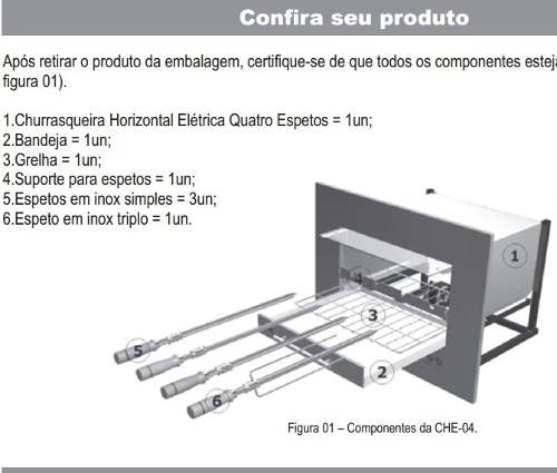 Churrasqueira Horizontal Elétrica De Embutir 4 Espetos _ CHE-04 ARKE