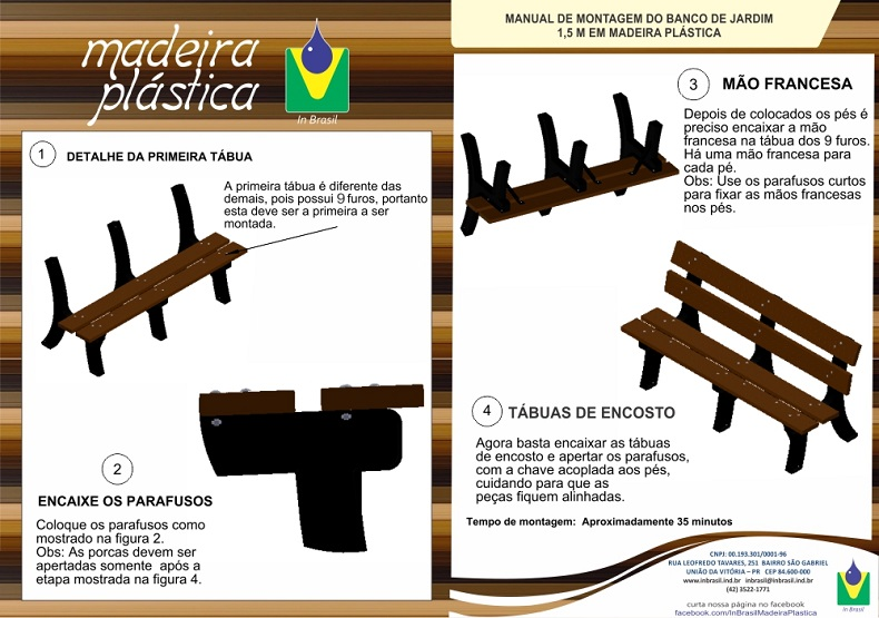 Banco Jardim com encosto 1,50m  Madeira Plastica Ecologica Ipê