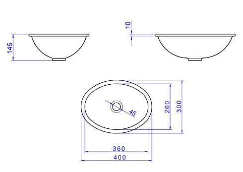 Cuba de Embutir Oval Branca 40cmx30cm L.59.17