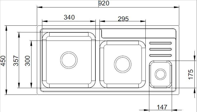 Cuba dupla de inox com Lixeira quadrada Primattino 20.03.20238 Debacco