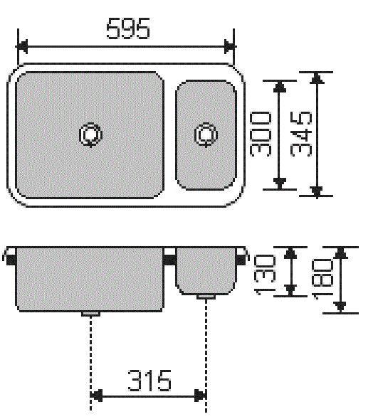 Cuba e meia Dupla Retangular c/ mini cuba ESCOVADA - 54 x 40 x 17 x 13 cm