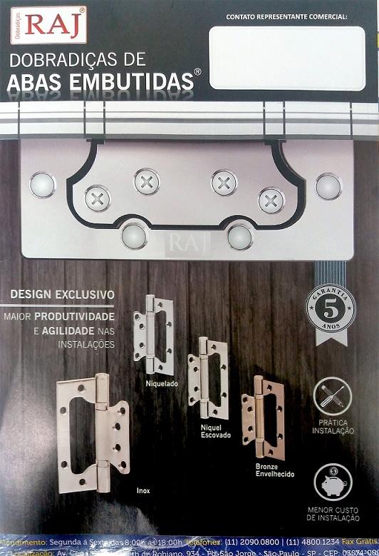 Dobradiças De Abas Embutidas Aço Inox 4 X 2,5mm Kit Com 3pç Raj