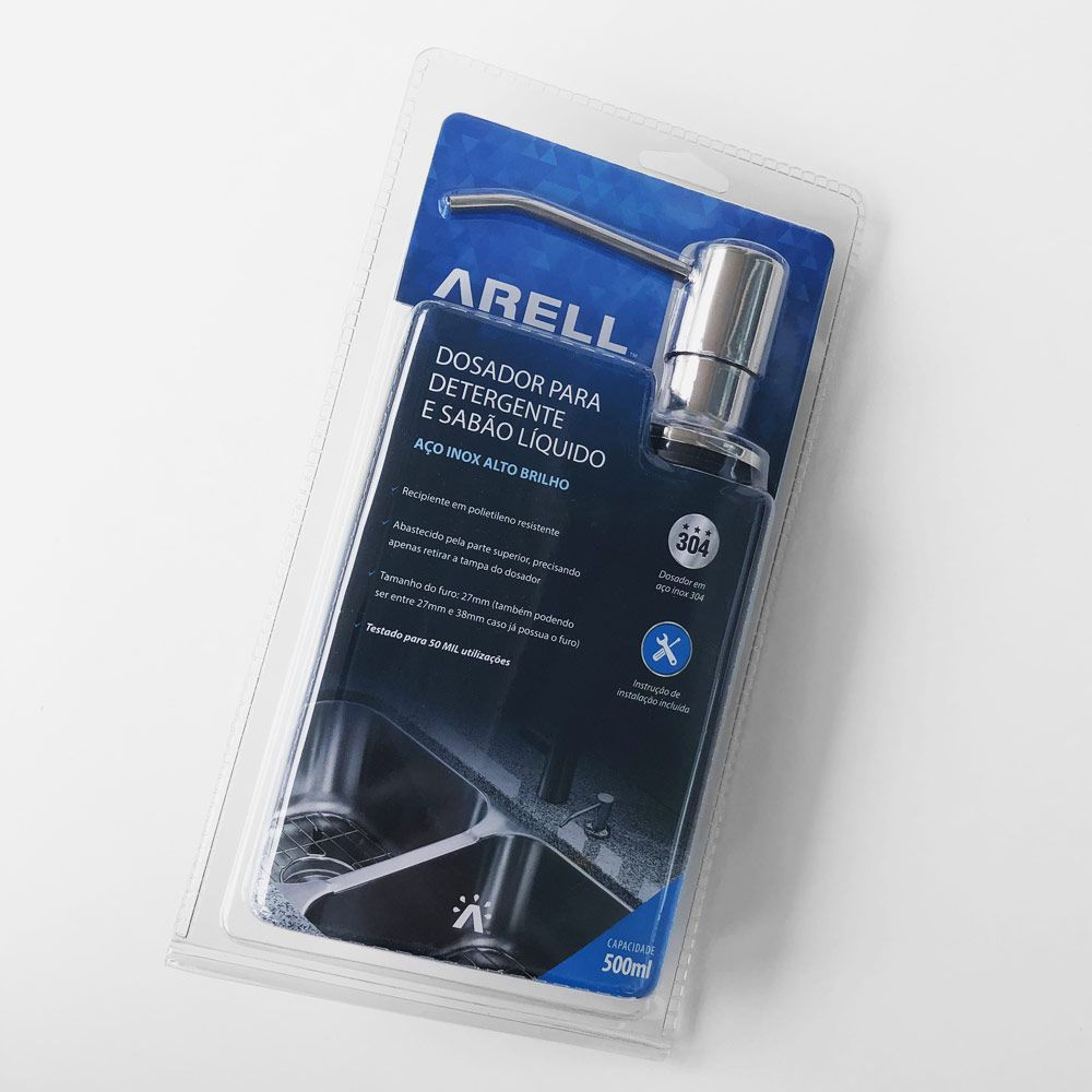 Dosador Porta Sabonete Liquido Embutir p/ Bancada Cromada ARE-DS01-AB
