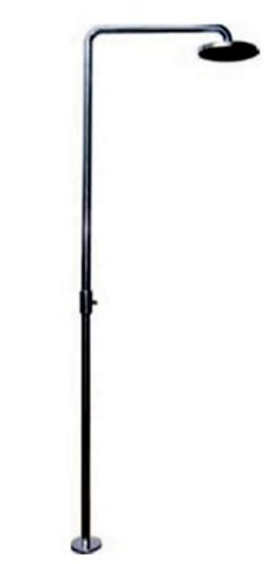 """Ducha de piso em inox 304 p/ piscina ou sauna """"L"""" tubo de 1 1/2'"""