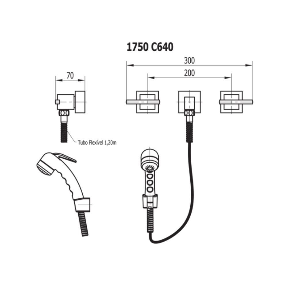 Ducha Higiênica Com Misturador e Gatilho Abs 1,20m - 1750 C640