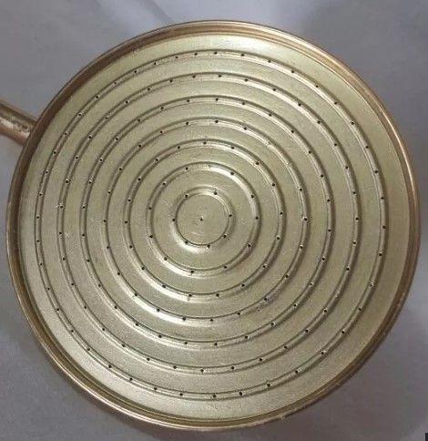 Ducha Panelão Dourada Chuveiro Latão Polido - 25cm