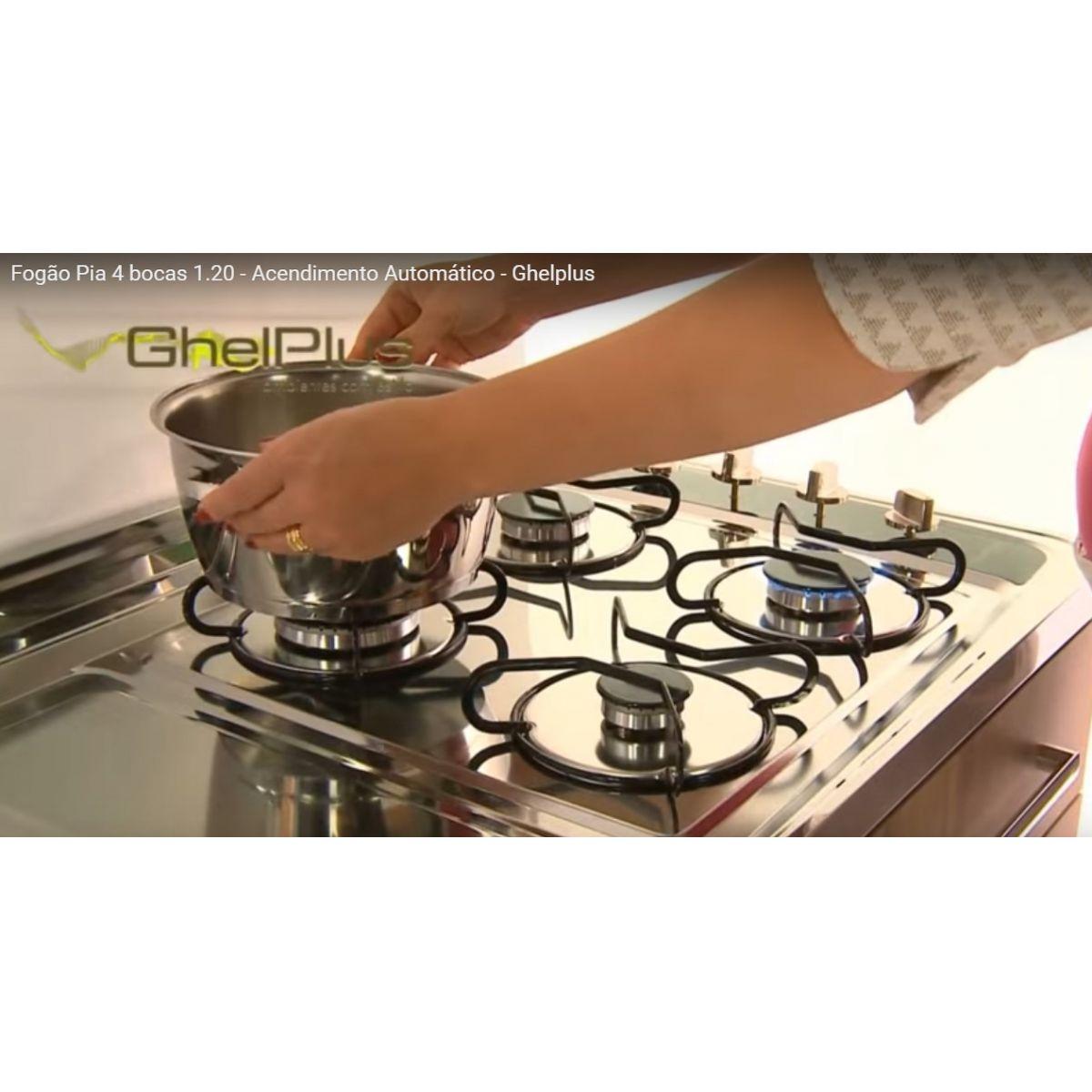 Pia Inox c/fogão 4 Bocas Lado Direito Acendimento Automático