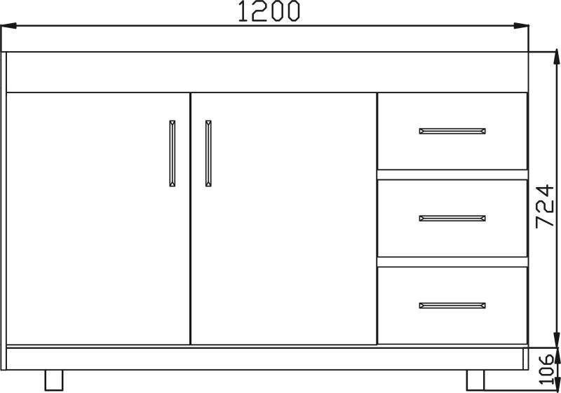 Gabinete Balcão Standart para -Pia Fogão 1,20m x 51cm