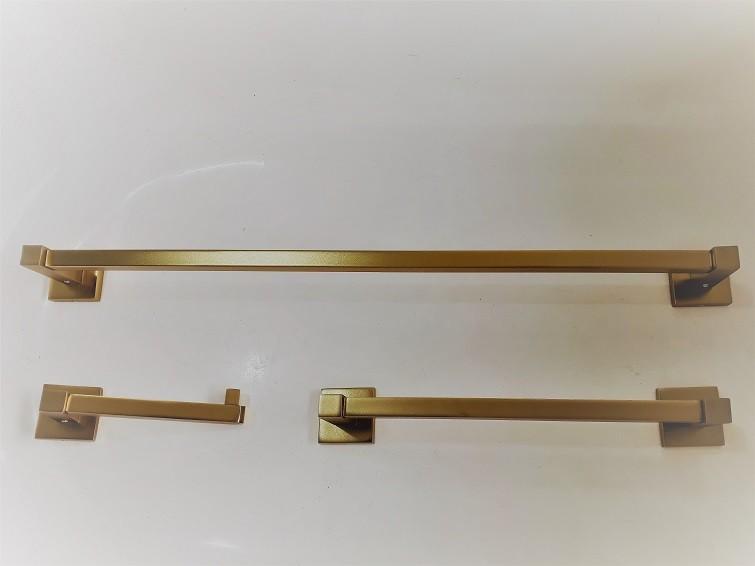 Jogo Acessorios Dourado Fosco  P/ Lavabo Ou Banheiro