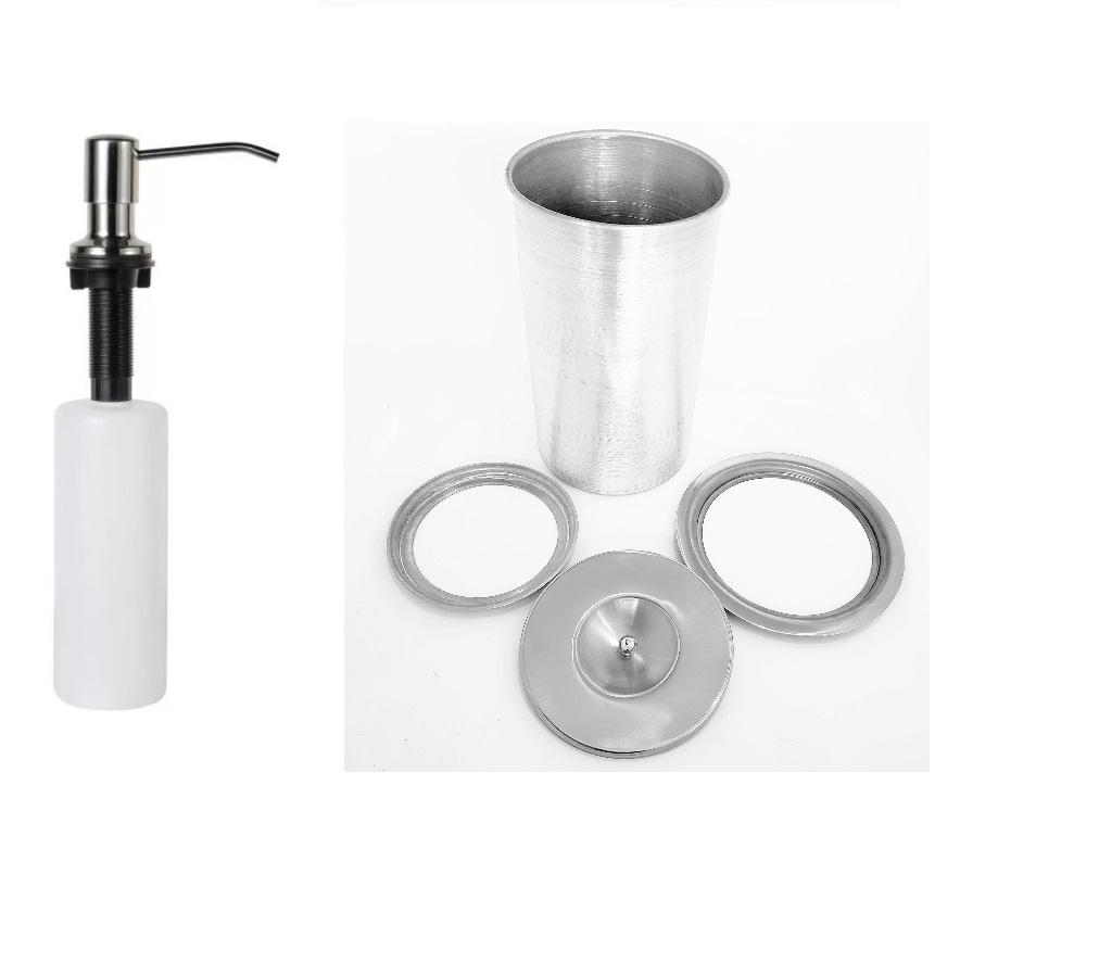 Kit Lixeira  20cmX30cm 6L Embutir No Granito Inox 304 E Dosador