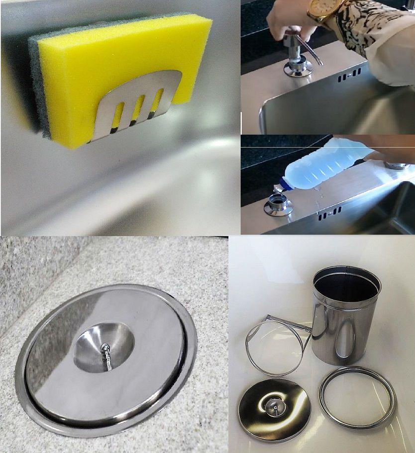 Kit Lixeira Embutir 5lt M, Dosador E Porta Esponja Em Inox 304