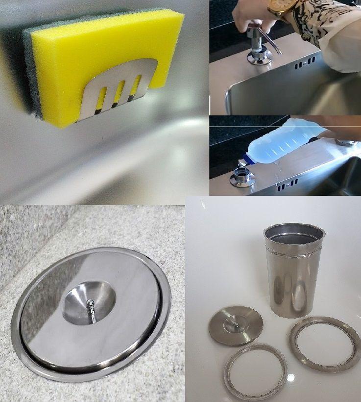 Kit Lixeira Embutir tampa escovada 3l + Dosador + Porta Esponja Em Inox 304