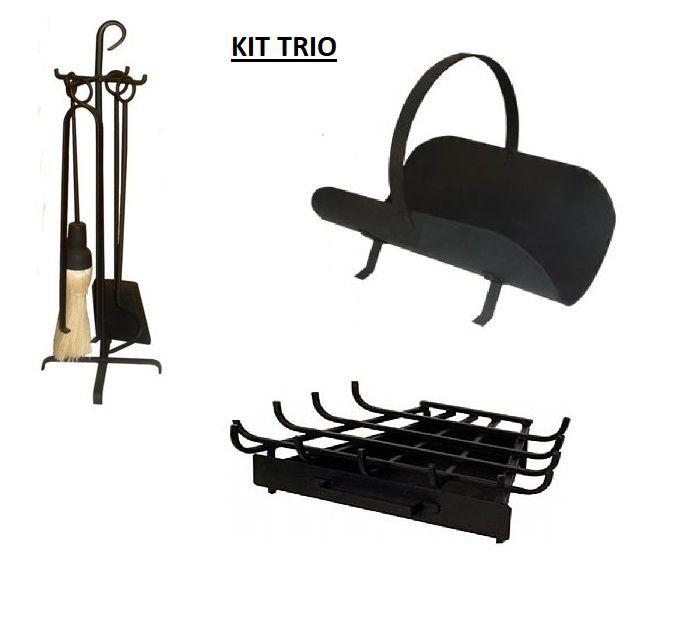 KIT TRIO p/ LAREIRA  Cesto p/ lenha + Grelha Pequena+ Ferramentas