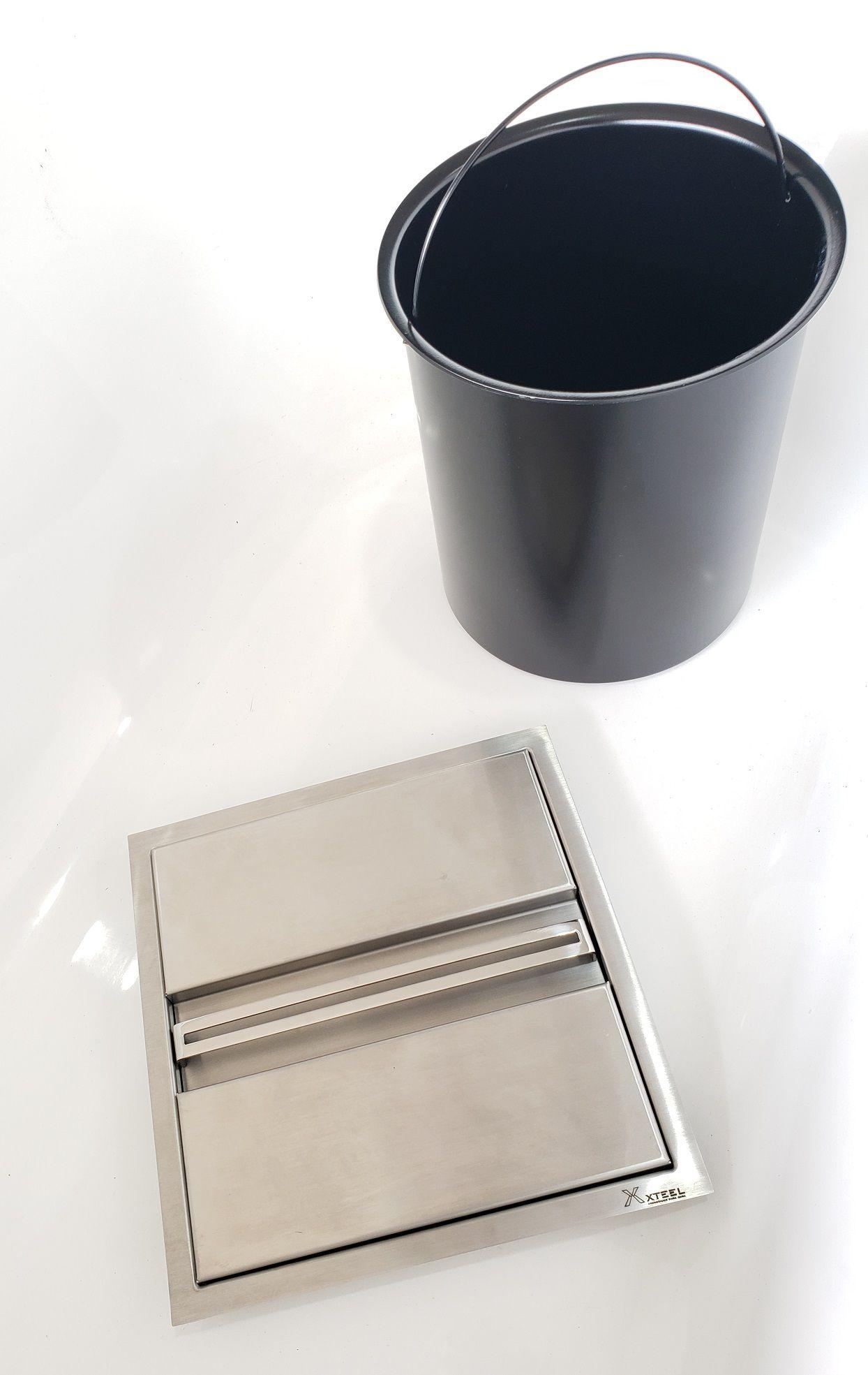 Lixeira de Embutir Inox Quadrada 3L