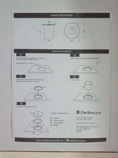 Lixeira Inox p/ Embutir na pia Tampa escovada  12 Litros Debacco