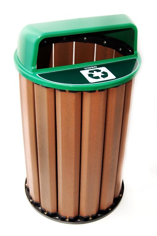 Lixeira para Coleta Seletiva 94L Diversas Cores Madeira Plastica Ecologica