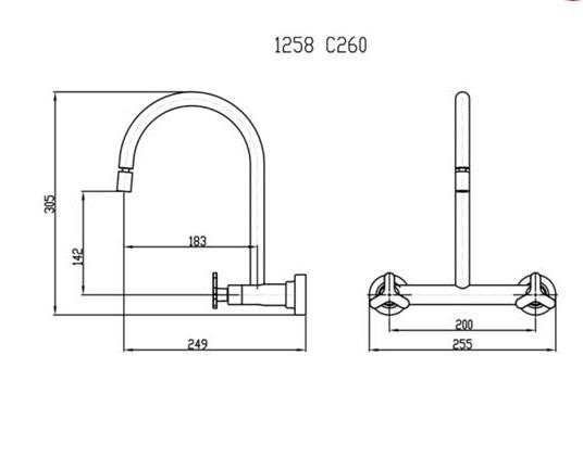 Misturador de Parede Bica Móvel e Arejador Articulável - 1258 C260