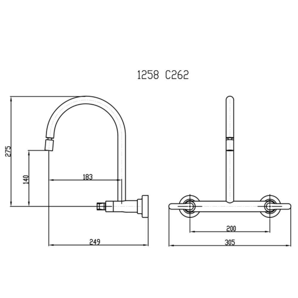 Misturador de Parede Bica Móvel e Arejador Articulável - 1258 C262