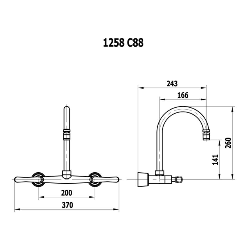 Misturador de Parede Bica Móvel e Arejador Articulável - 1258 C88