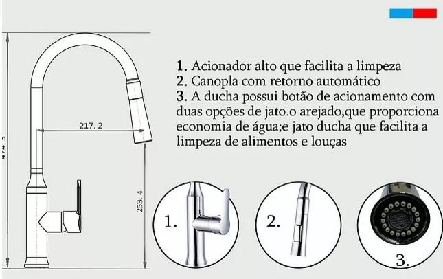 Misturador Monocomando Cozinha Cromado 2 jatos com bica móvel e retrátil  DG 1021