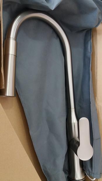 Misturador Monocomando Cozinha Inox escovado 2 jatos com bica móvel e retrátil