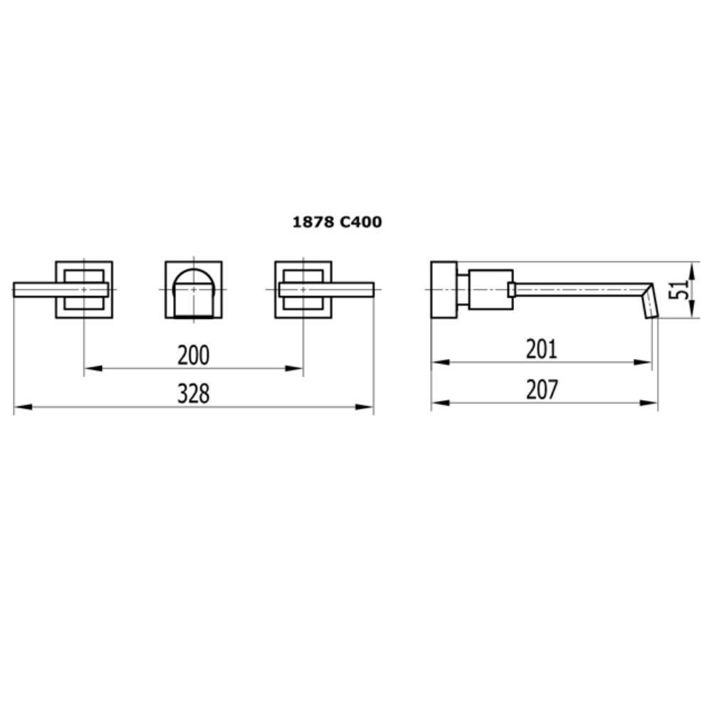 Misturador Para Lavatório de Parede Platina c 400 Fani 1878 C400