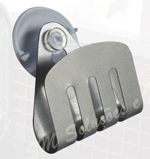 Porta Esponja Em Inox 304 Fixação Com Ventosa