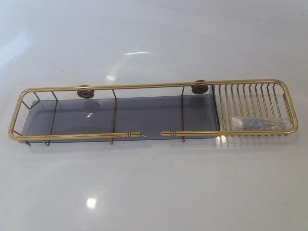 Porta Shampoo com saboneteira Dourado  em latão polido 40cm