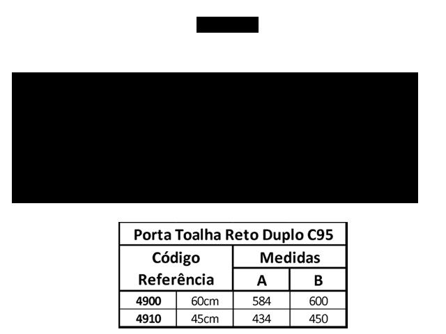 PORTA TOALHA DUPLO LONGO SLIM C-95 4900