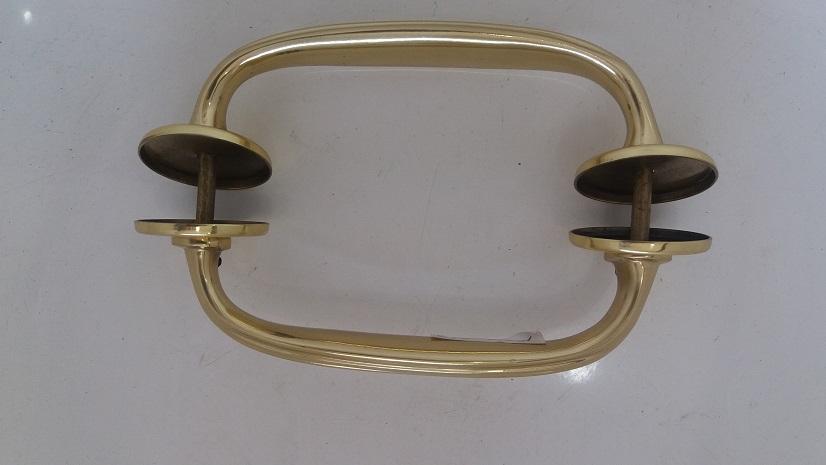 Puxador alça M dupla  c/ friso  latão polido c/ verniz eletrostático (Par)