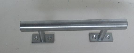 Puxador alça p/porta LATÃO MACIÇO CROMO ESCOVADO (par)