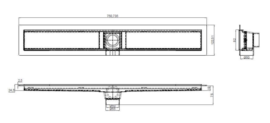 Ralo Linear Tampa Inox 304 Saida Central e Horizontal 70cm L.Smart