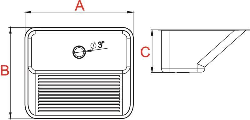 Tanque monobloco 55L aço INOX 304 Acetinado 60X50X27CM   Ref:10.04.20435