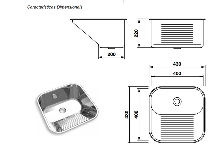 Tanque monobloco  aço INOX 304 Polido CT-40 Luxo MEKAL 400x400x220mm