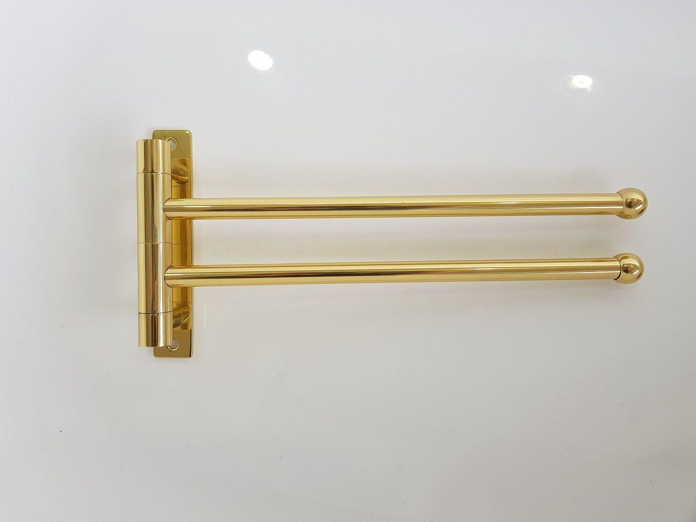 Toalheiro Articulado C/ 2 Barras  30cm Dourado