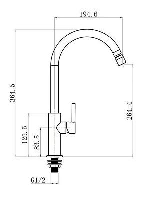 Torneira  Cozinha mesa bica móvel  1/2 Volta DG1020