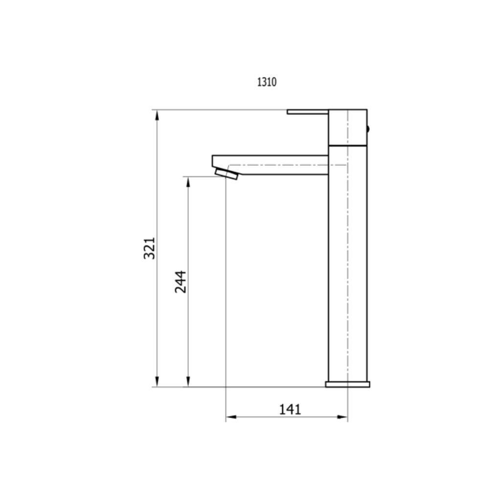 Torneira Quadrada Para Lavatório de Mesa Bica Alta - 1310 Cr