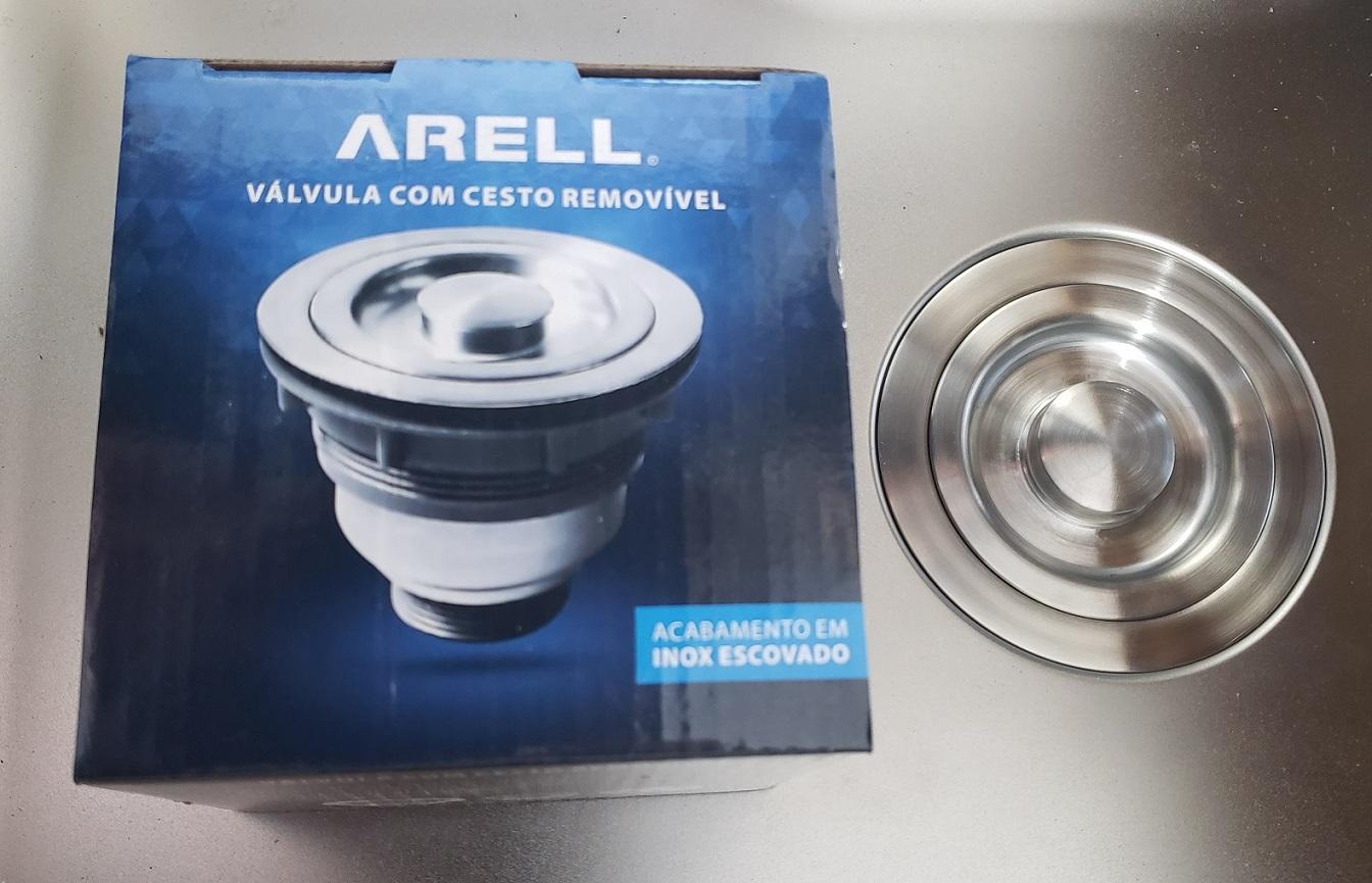 Válvula  Escoamento p/ Pia De Cozinha Inox  C/ Cesto 4 1/2 ARE-V114-01-AE