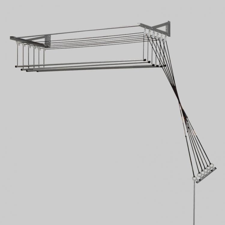 Varal de teto ou parede com 6 hastes individuais 1m   Larg x 0,49cm largura