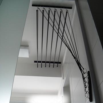Varal de teto ou parede com 6 hastes individuais 1,50 Comp x 0,49 Larg