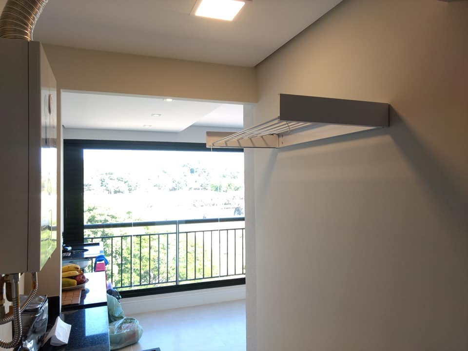 Varal Magico 6 varetas  Aluminio 1,04m - Dobravel Branco