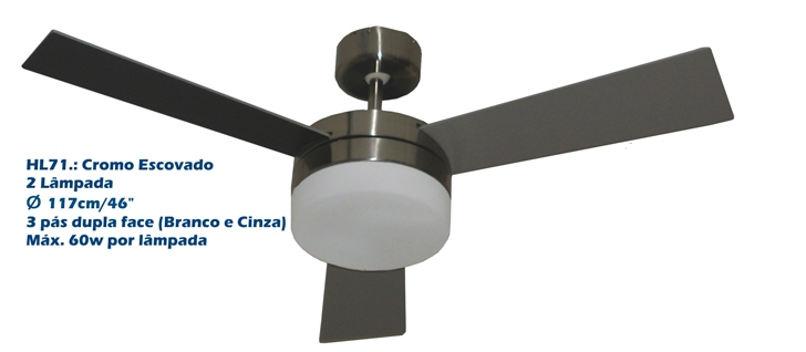 Ventilador De Teto 3 Pás - Home Line - Hl 71 Belle  Escovado 220v