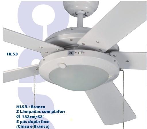 Ventilador de Teto Homeline HL-53 Plafon 5 pás cinza / branco