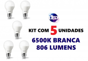 Kit 5 Lâmpadas LED Residencial 7,5W 6500k Branca Philips Original Bivolt