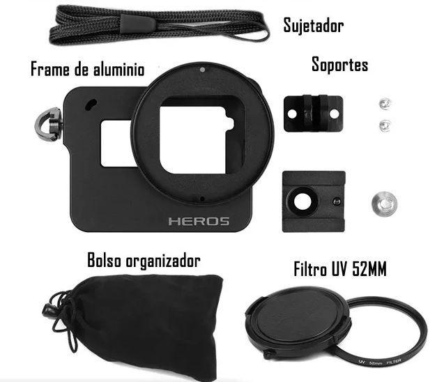 Frame Case Proteção Alumínio + Lente Uv Gopro Hero 6 5 Black - Imp. Hero 5